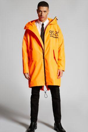 DSQUARED2 Men Raincoat Orange Size 38 100% Polyester