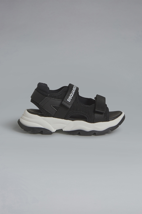 DSQUARED2 Men Sandal Black Size 4Y 84% Polyester 8% Polyurethane 6% Polyamide 1% Elastane 1% Cotton