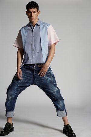 DSQUARED2 Men Shirt Azure Size 36 100% Cotton