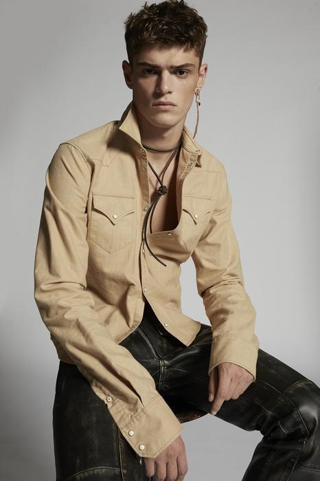DSQUARED2 Men Shirt Beige Size 38 100% Cotton