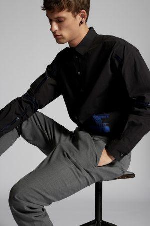DSQUARED2 Men Shirt Black Size 34 97% Cotton 3% Elastane