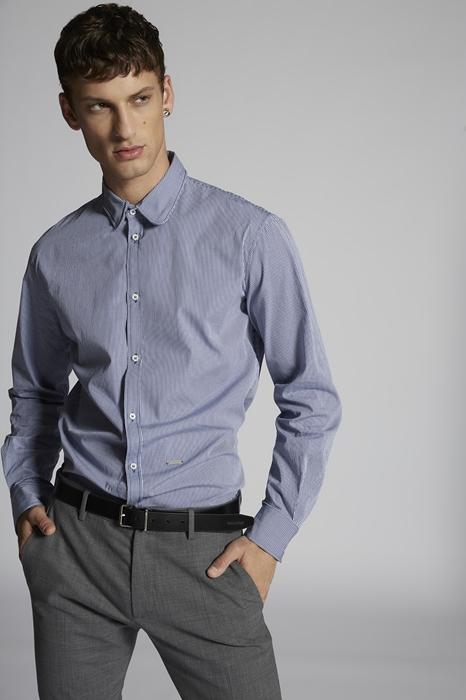 DSQUARED2 Men Shirt Blue Print Size 40 100% Cotton