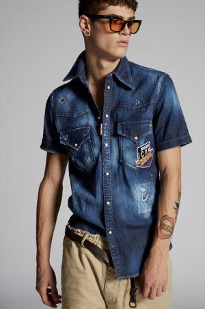 DSQUARED2 Men Shirt Blue Size 36 98% Cotton 2% Elastane