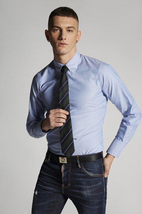 DSQUARED2 Men Shirt Light blue Size 34 100% Cotton