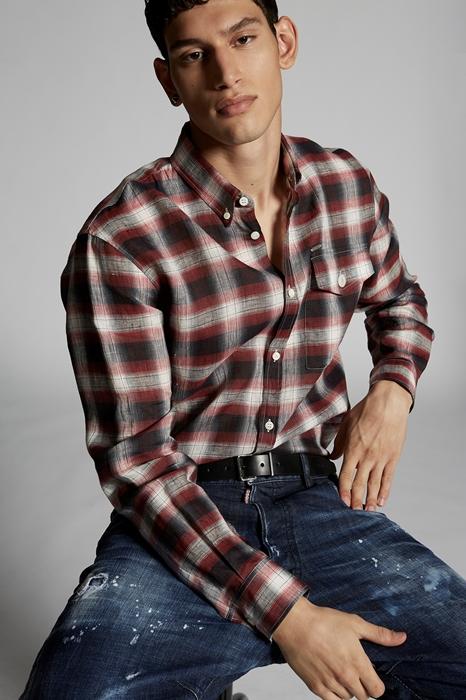 DSQUARED2 Men Shirt Red Size 38 100% Linen
