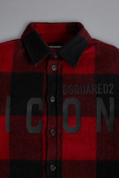 DSQUARED2 Men Shirt Red Size 8 65% Wool 30% Polyester 4% Polyamide 1% Cotton
