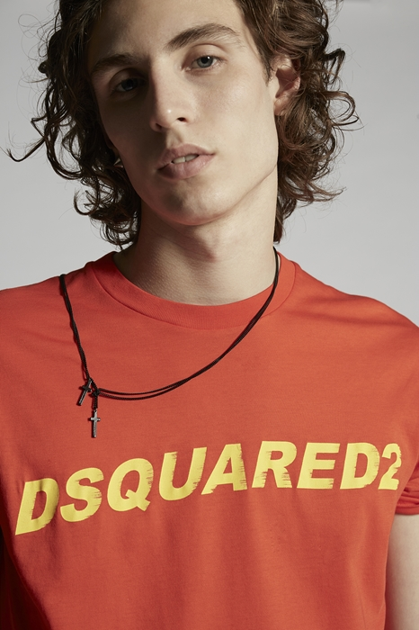 DSQUARED2 Men Short sleeve t-shirt Orange Size 3XL 100% Cotton