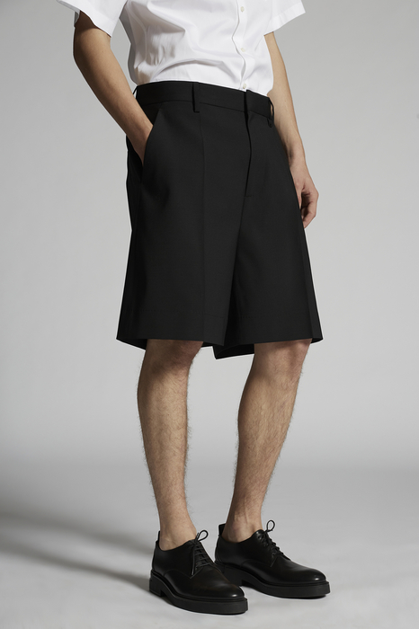 DSQUARED2 Men Shorts Black Size 34 95% Virgin Wool 5% Elastane