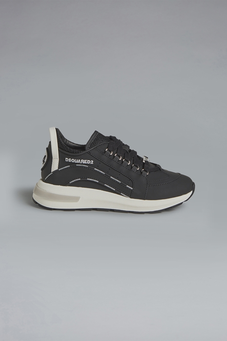 DSQUARED2 Men Sneaker Black Size 1Y 74% Calfskin 16% Polyurethane 9% Polyester 1% Cotton