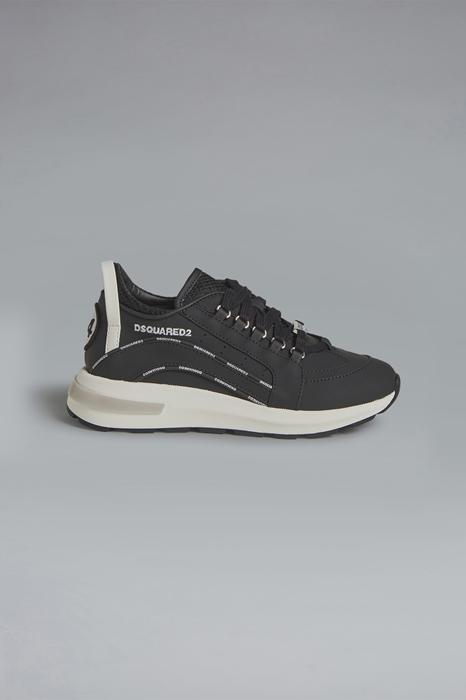 DSQUARED2 Men Sneaker Black Size 6Y 74% Calfskin 16% Polyurethane 9% Polyester 1% Cotton