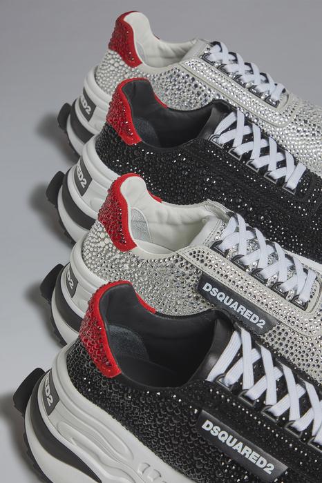 DSQUARED2 Men Sneaker Black Size 8 53% Calfskin 47% Glass