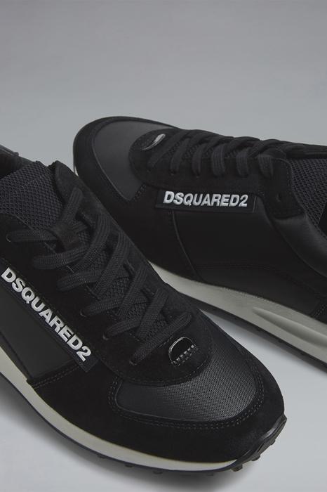 DSQUARED2 Men Sneaker Black Size 9 75% Polyester 10% Calfskin 8% Nylon 5% Polyethylene 2% Elastane