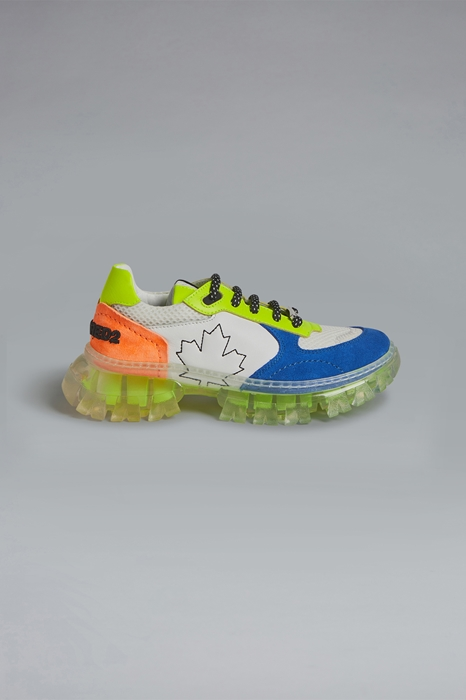 DSQUARED2 Men Sneaker Blue Size 6Y 54% Calfskin 23% Goatskin 19% Polyester 2% PVC - Polyvinyl chloride 2% Polyurethane