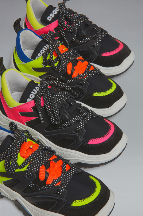 DSQUARED2 Men Sneaker Fuchsia Size 13C 84% Calfskin 13% Polyamide 3% Elastane