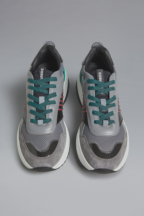DSQUARED2 Men Sneaker Grey Size 7 60% Calfskin 40% Synthetic fibers