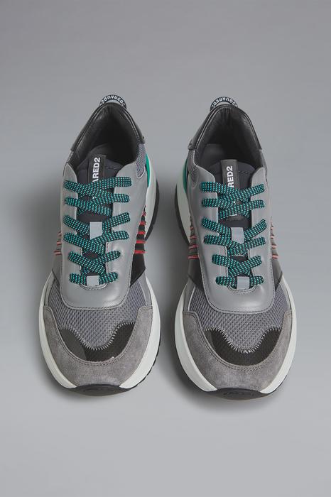 DSQUARED2 Men Sneaker Grey Size 9 60% Calfskin 40% Synthetic fibers