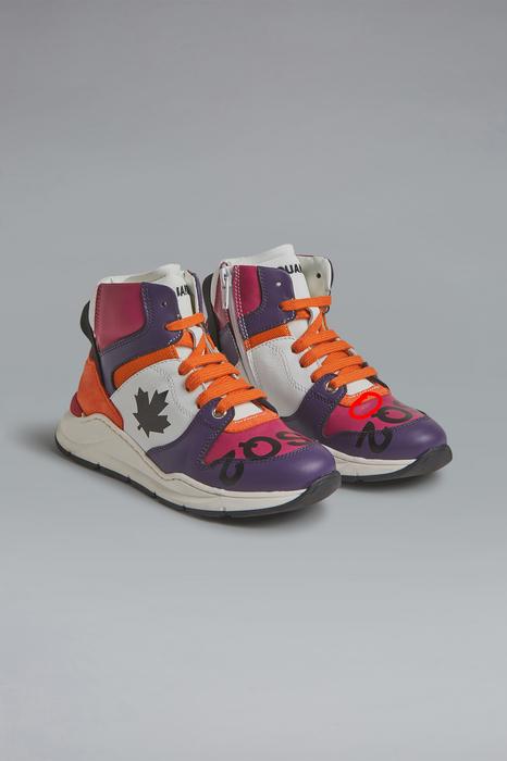 DSQUARED2 Men Sneaker Purple Size 13C 78% Calfskin 20% Polyester 2% Elastane