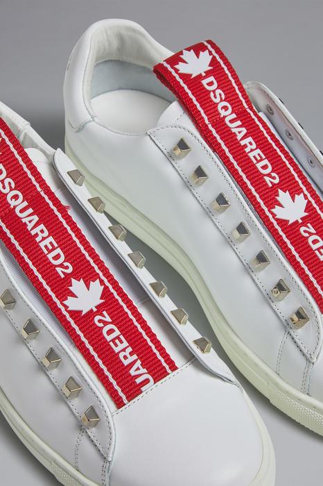 DSQUARED2 Men Sneaker White Size 10 80% Calfskin 12% Nylon 7% Polyester 1% Polyurethane