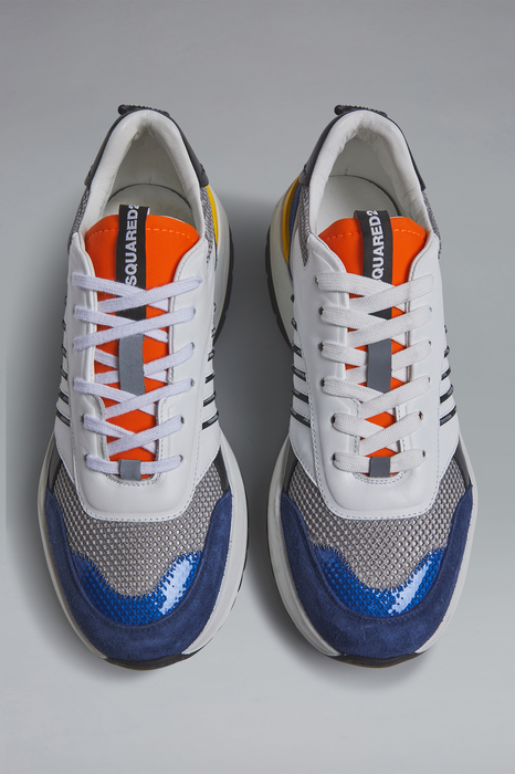 DSQUARED2 Men Sneaker White Size 12 60% Calfskin 24% Polyester 6% Polyurethane 6% Nylon 4% Polyethylene