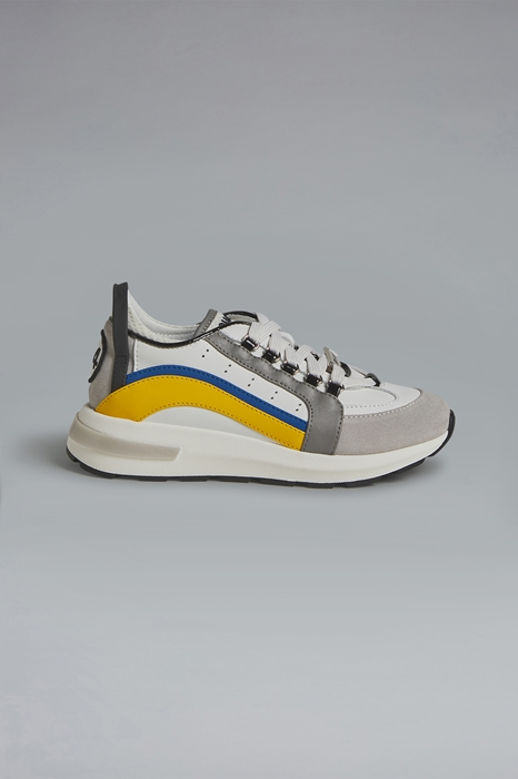 DSQUARED2 Men Sneaker White Size 1Y 52% Calfskin 29% Polyurethane 17% Polyester 2% Cotton