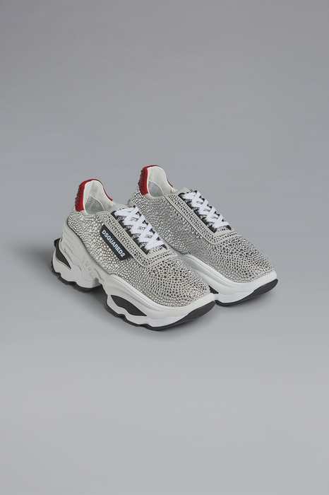DSQUARED2 Men Sneaker White Size 9 53% Calfskin 47% Glass
