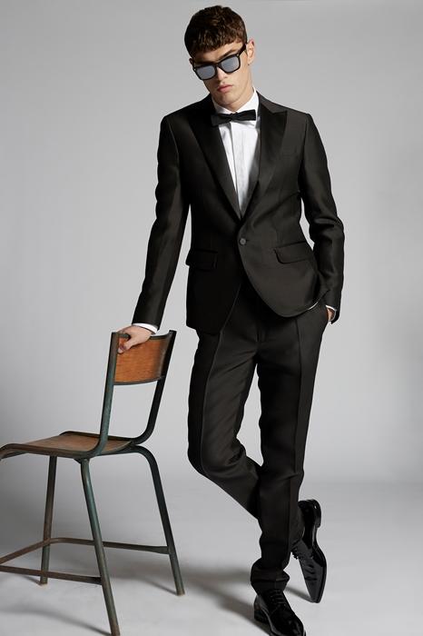 DSQUARED2 Men Suit Black Size 36 54% Wool 46% Silk