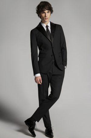 DSQUARED2 Men Suit Black Size 38 95% Virgin Wool 5% Elastane