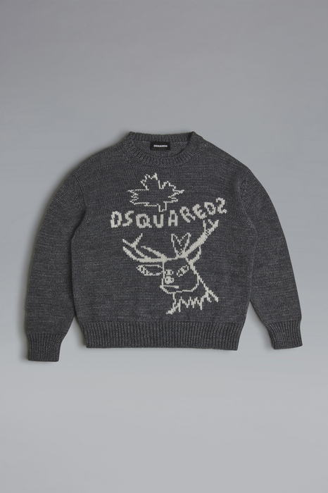 DSQUARED2 Men Sweater Grey Size 14 50% Acrylic 30% Wool 20% Alpaca