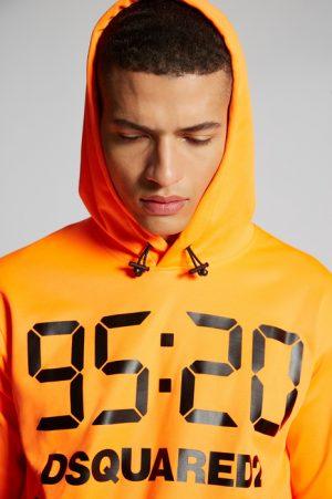 DSQUARED2 Men Sweatshirt Orange Size XS 55% Polyester 45% Cotton