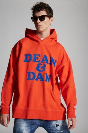 DSQUARED2 Men Sweatshirt Orange Size XXL 100% Cotton