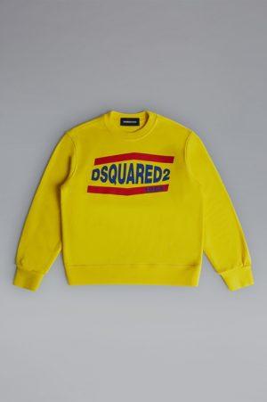 DSQUARED2 Men Sweatshirt Yellow Size 6 100% Cotton