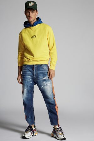 DSQUARED2 Men Sweatshirt Yellow Size XXL 100% Cotton