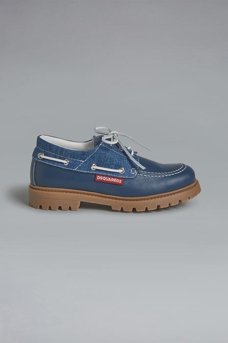 DSQUARED2 Men Winter Boots Blue Size 4Y 73% Calfskin 27% Cotton
