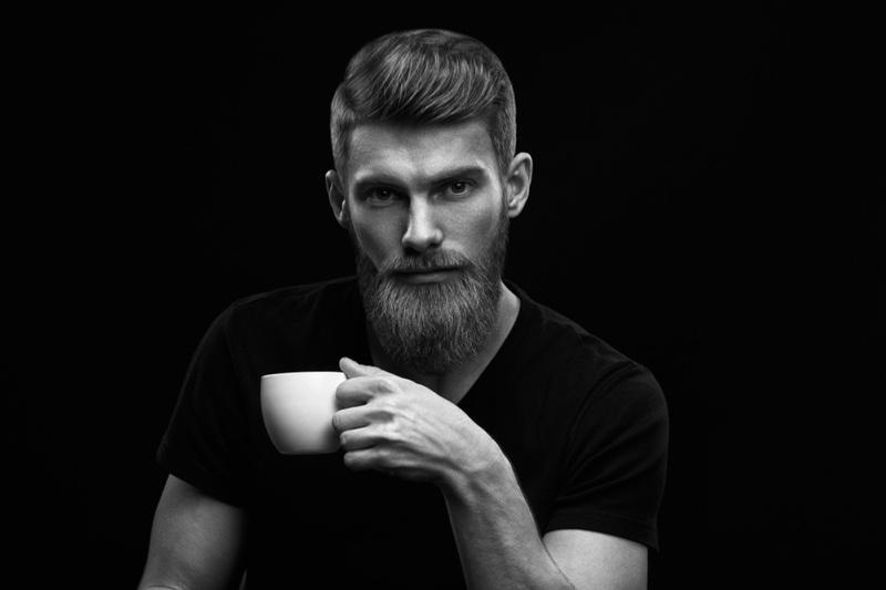 Dramatic Black White Bearded Man Mug