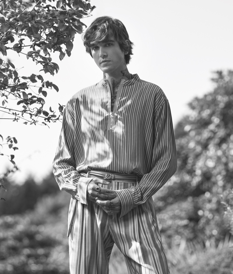 Appearing in a black and white photo, Gabriel-Kane Day-Lewis stars in Ermenegildo Zegna's spring-summer 2021 campaign.