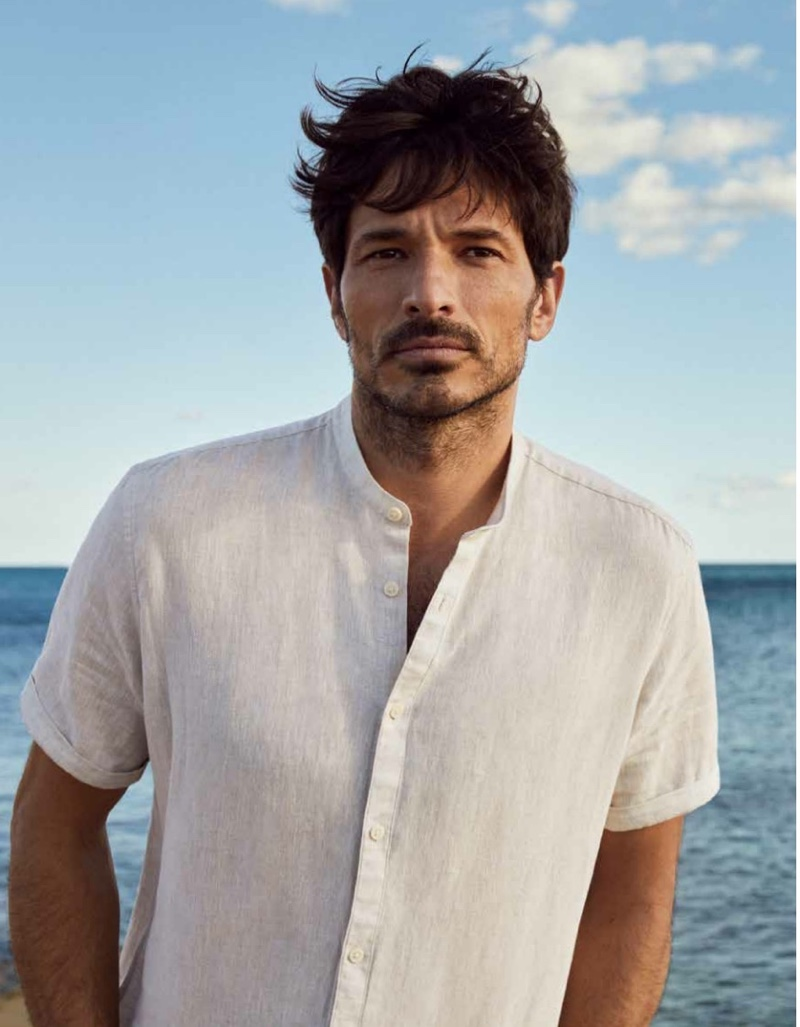 Spanish model Andres Velencoso dons a linen short-sleeve band-collar shirt from Esprit's spring-summer 2021 men's collection.