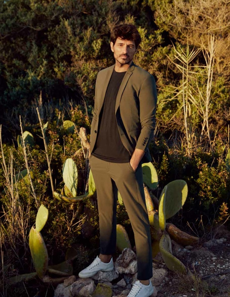 Front and center, Andres Velencoso dons a leisure suit from Esprit's spring-summer 2021 men's collection.