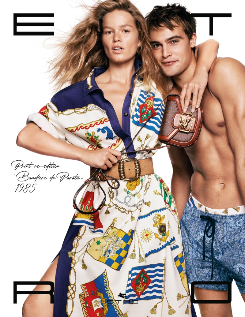 Anna Ewers and Parker Van Noord couple up for Etro's spring-summer 2021 campaign.