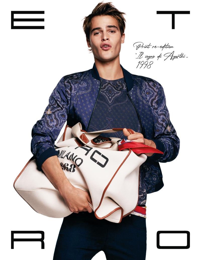 Parker Van Noord stars in Etro's spring-summer 2021 men's campaign.