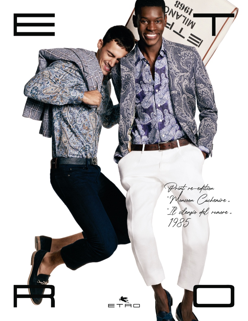 Alessio Pozzi and Grace Musase appear in Etro's spring-summer 2021 men's campaign.