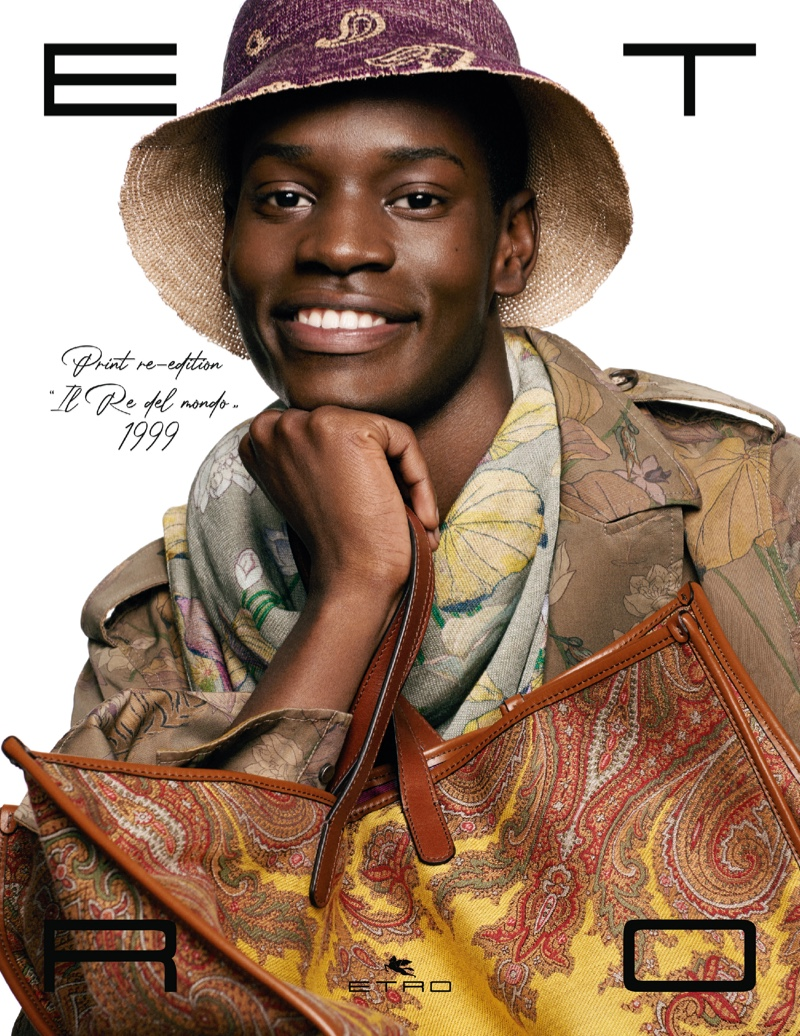 All smiles, Grace Musase fronts Etro's spring-summer 2021 men's campaign.