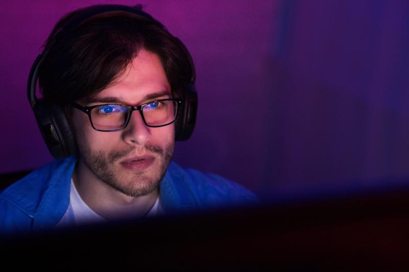 Gamer Headphones Man Glasses Computer