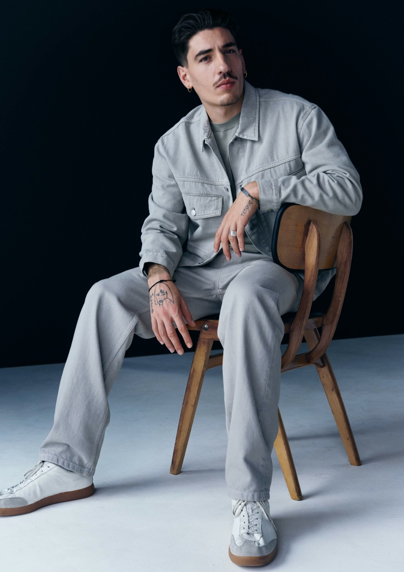 Héctor Bellerín sports a denim look from his H&M Edition collection.