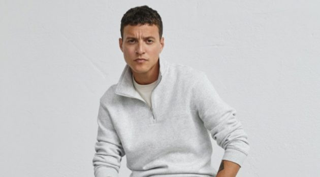 Front and center, Felix Radford dons H&M's hybrid slim jeans.