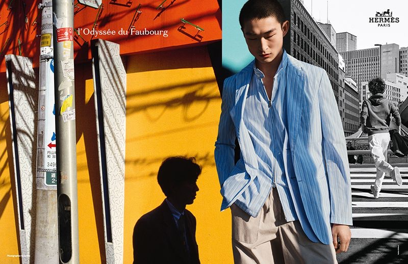 Hermès enlists model Sang Woo Kim as the star of its spring-summer 2021 men's campaign.