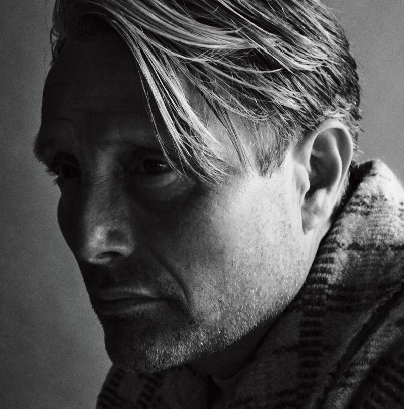 Daniel Jackson photographs Mads Mikkelsen in a Monad jacket for WSJ Magazine.