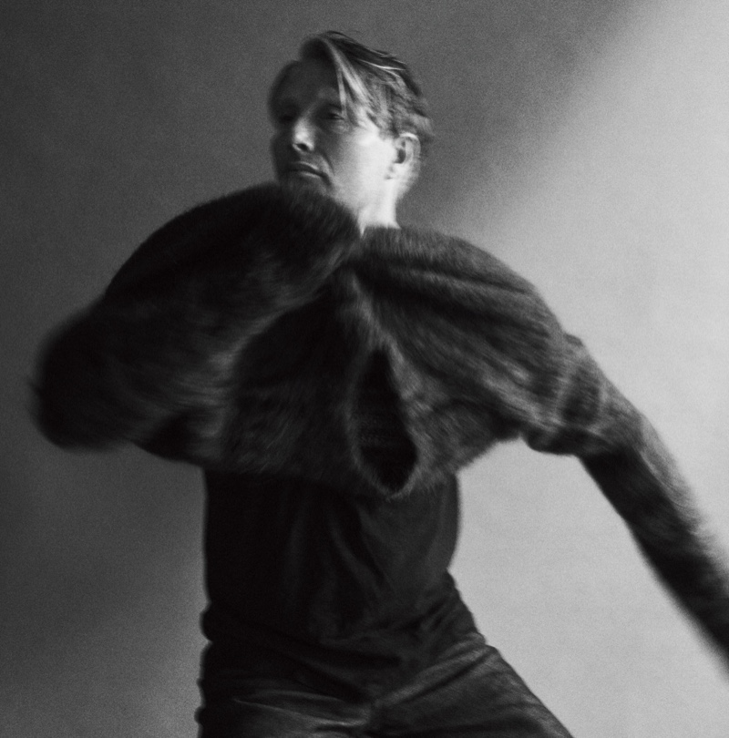Actor Mads Mikkelsen wears a Marni sweater, Rag & Bone t-shirt, and A.P.C. jeans for WSJ Magazine.