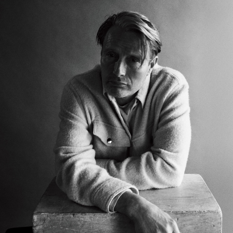 Front and center, Mads Mikkelsen wears a Isabel Marant jacket and shirt for WSJ Magazine.