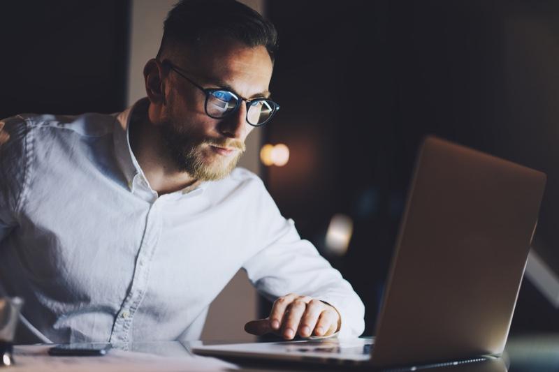 Man Glasses Laptop Night Working
