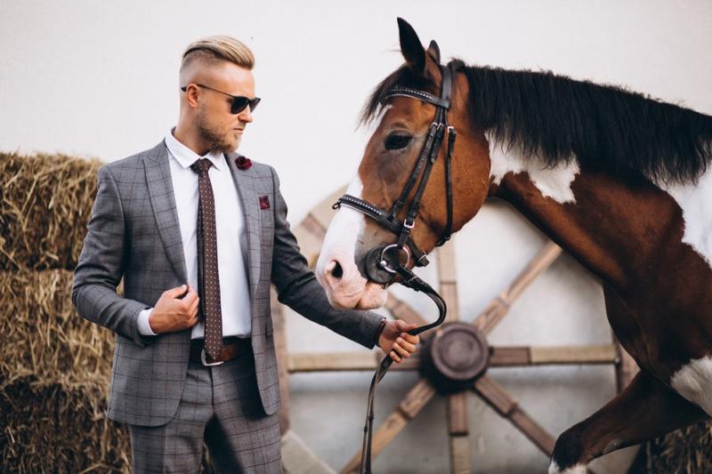 Man Plaid Suit Horse Stables